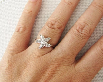 Starfish CZ Sterling Silver Ring, size 6
