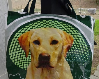 Large Upcycled Feed Bag Tote, Grocery Bag, Market Bag, Charity Tote, Carry-All, Nylon Web Handles, Machine Washable, Green with Yellow Lab