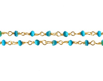 Gold Plated Sterling Silver 2.5 To 3mm Turquoise Stone Rosary Chain - 20ft 10% discounted High quality (6568-20)/1
