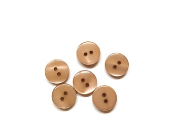 6 Coffee Brown Buttons, Light Cocoa, French Buttons, Vintage
