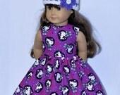 Fits American Girl Doll - Handmade Doll Clothes - Purple Kiss Dress