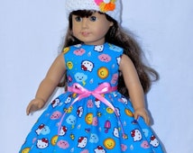 Fits American Girl Doll - Handmade Doll Clothes - Blue Cloudy Day Cat Dress and Hat