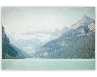 Rocky Mountain photography, Lake Louise Photography, Canada photography, mountain lake, mint decor, rustic home art - Fine Art Photograph