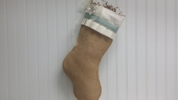 Shabby Chic Burlap Christmas Stocking in Blue with ruffles and snowflake