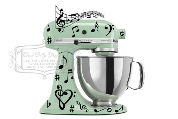 Kitchen Mixer Vinyl Decals ~ Items similar to kitchen mixer vinyl decal set music notes
