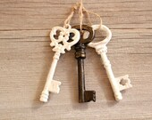 Skeleton Key to My Heart Ornament large key white key gift for her ornate key