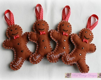 Personalised Felt Gingerbread Man Handmade Ornament