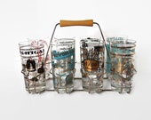 Set of 8 Amazing Mid Century Souvenir Bar Glasses with Carrier