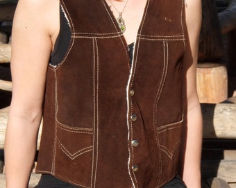 SALE 30% OFF - Suede and Shearling Hippie Cowboy Vest