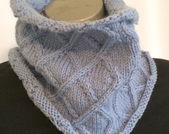 Womens Knit Cowl Blue Knit Cowl Knit Neck Warmer Knit Circle Scarf Knit Infinity Scarf Infinity Scarf