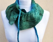 Felted scarf, silk, wool, nuno, felted, gift, fibre art, green, turquoise