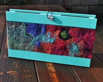 BIG SALE - Felted accordian file, silk, wool, nuno, felted, gift, fibre art, turquoise, pink, green, black, purple
