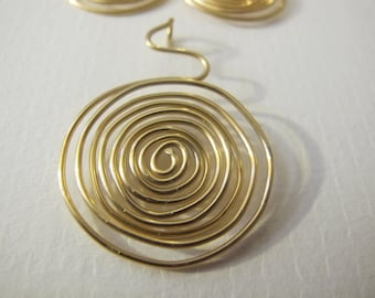 Bronze wire wrapped necklace pendant spiral jewelry set
