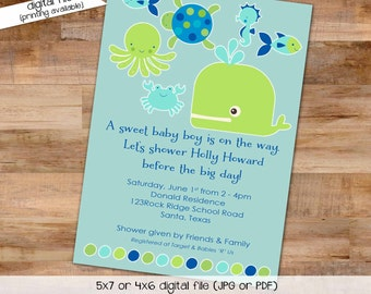 under the sea ocean invitation baby boy shower couples diaper baptism turtle baby sprinkle octopus whale crab (item 1235) baby shower invite