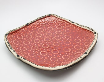 Pottery Serving Tray, Ceramic Handmade Dinner Plate, Wall Decor or Salad Plate