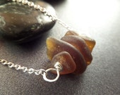 Scottish Sea Glass Bar Necklace Silver and Brown Amber Small Jewelry Gift from Scotland