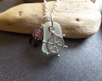 Nautical Necklace Scottish Sea Glass in Aqua and Purple with Ship's Wheel Helm Charm Sailing Jewelry