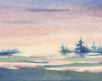 Original watercolor ACEO painting - Sunset reflections