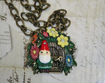 24 in necklace gnome white beard flowers door gnome home