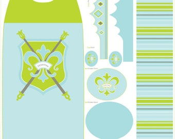 Blue and Green Pincess Cape and Crown Fabric  - Riley Blake - 1 pannel