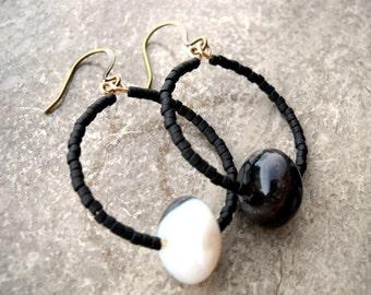 Black & white hoop earrings: Quarter Moon's Light - Gift under 10, handmade earrings, black earrings, black agate, bohemian earrings