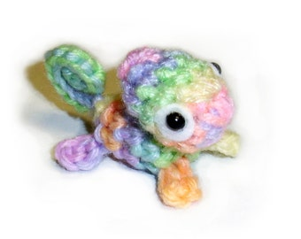 Mini Pastel Rainbow Chameleon Plushie - Crochet Stuffed Animal 2.5 inch Lizard Plush Toy, Made to order