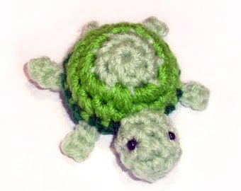 Little Turtle Crochet Plushie - Amigurumi Stuffed Tortoise Toy, Choose your colors - Made to Order