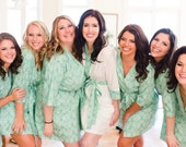 Five Bridesmaid Robes.  Bridesmaid Robes. Kimono. Bridal Robe. Kimono Robe. Kimono Robe. Wedding. Assorted Prints. Knee Length.