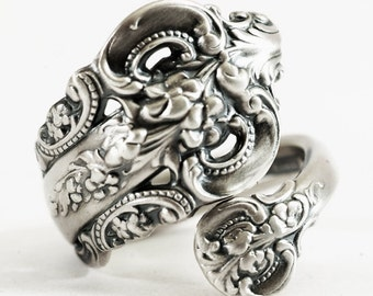 Vintage Spoon Ring, Grande Baroque, Sterling Silver Spoon Ring, Victorian Ring, Wallace Baroque, Wrap Ring, Adjustable Ring, Fancy Ring 5912