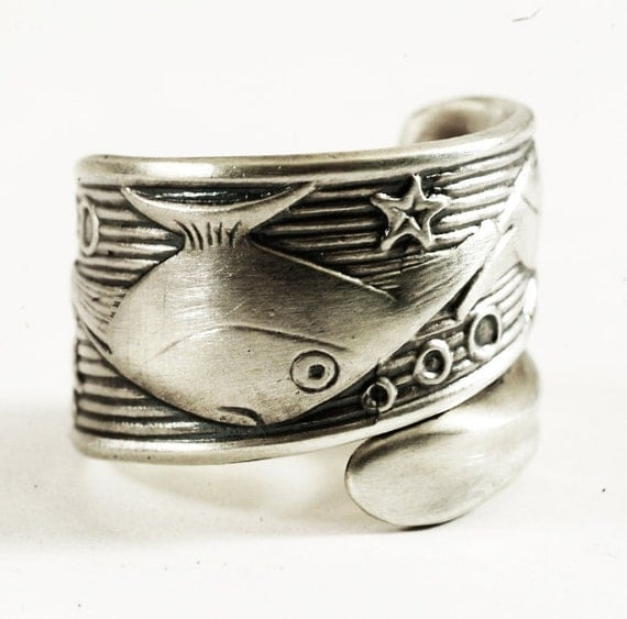 fish spoon ring in unique sterling silver 3 fishy pinstripe