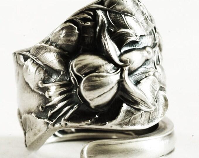 Fuchsia Flower Ring, Fuschia Ring, Sterling Silver Spoon Ring, Floral Ring, Gardener Gift, Handmade Gift for Her, Adjustable Ring Size, 1587