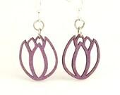 Tulip Blossoms - Wood Earrings