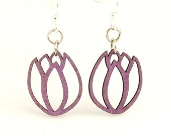 Tulip Blossoms - Wood Earrings