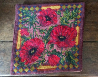 Vintage French Purple Poppy Crosstich Velvet Backed Pillowcase Pillow Cushion Case Cover circa 1960-70's / English Shop