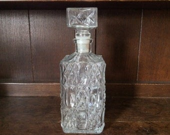 Vintage French Glass Decanter circa 1970's / English Shop