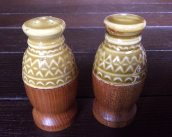 Vintage French salt and pepper spice shakers wood wooden ceramic condiment set circa 1960s / English Shop