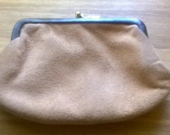 Vintage English classic brown leather suede ladies purse wallet circa 1960's / English Shop