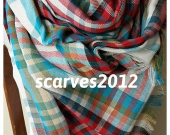 Red blue tartan plaid blanket scarf/oversize blanket scarf-shawl-men's scarves-women's scarves-man fashion-gifts for him-gifts for her