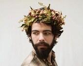 Harvest  Crown - Autumn Wedding, Demeter, Man Crown, Groom, Leaf Crown, Headpiece, Green Man, Greek Crown, Greek God, Man Flower Crown