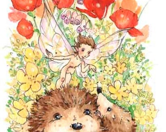"Original ACEO- Who's a Little Hedgie? -3.5x2.5"", whimsical fairy fantasy poppy hedgehog garden illustration"