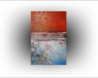 Abstract Red Blue Painting 24 x 36 - Skye Taylor