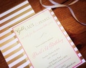 PRINTED Gold Lace & Pearls Invitations, lot of 25