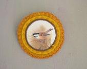 mustard brooch with victorian bird print - felt brooch - natural history bird brooch - bird lover gift - gift for her - mothersday gift