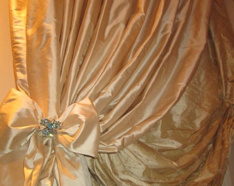 Custom Austrian Balloon Shade W/Tied Back Panel Or Bishop Sleeve Panel Or  Ruched