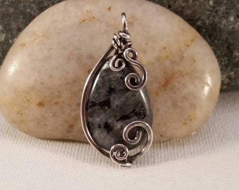 Black Labradorite and Sterling Silver Wire Wrapped Pendant