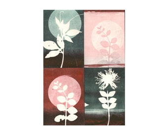 blank cards with envelopes, set of 4, original botanical monoprints