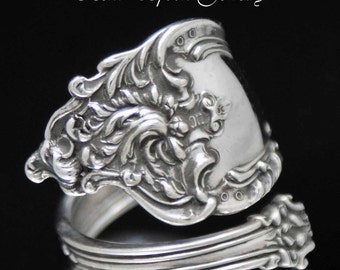 Sterling Silver Spoon Ring, Antique Large  LUXEMBOURG 1893 Silverware Spoon Ring size 10  SS54