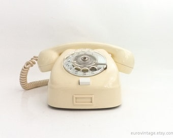 Vintage Rotary Phone Ivory Pearl White 60s