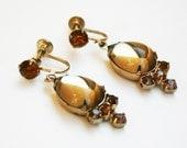 Vintage Gold Rhinestone Cabochon Earrings Dangle earrings