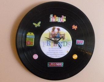 Friends Recycled CD/Vinyl Clock Art